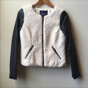 American Eagle teddy and faux leather jacket